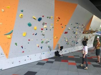 Utomhus, gratis klättringsväggen i Footscray.